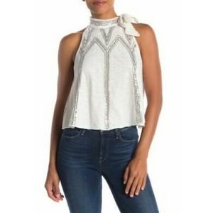 Free people, white with silver glitter tank